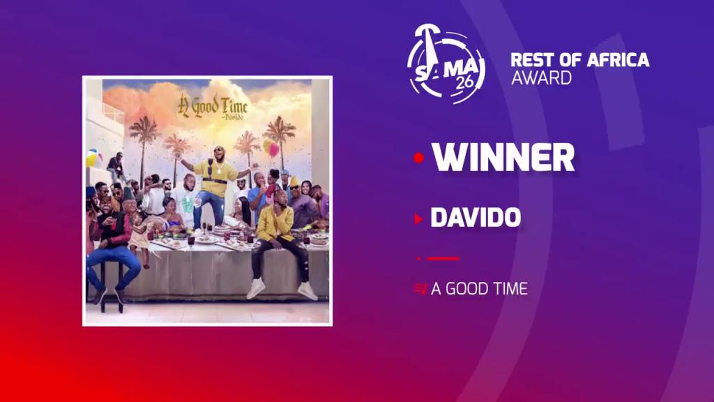 Davido wins at SAMA 26